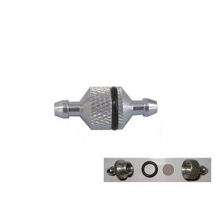 Kraftstofffilter Alu zerlegbar, Durchfluss innen Ø: 2 mm, Ø 5 mm Anschluss
