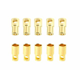 5 Paar 6 mm Goldkontaktstecker Verbinder (Stecker/Buchse) Bananenstecker Lochmulde