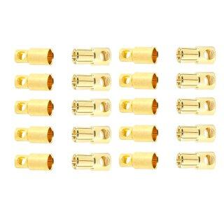 10 Paar 6 mm Goldkontaktstecker Verbinder (Stecker/Buchse) Bananenstecker Lochmulde